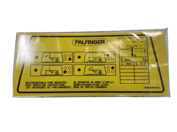 Bedienschild Slimpanel Mbb Palfinger 2053240 Mbb E00111