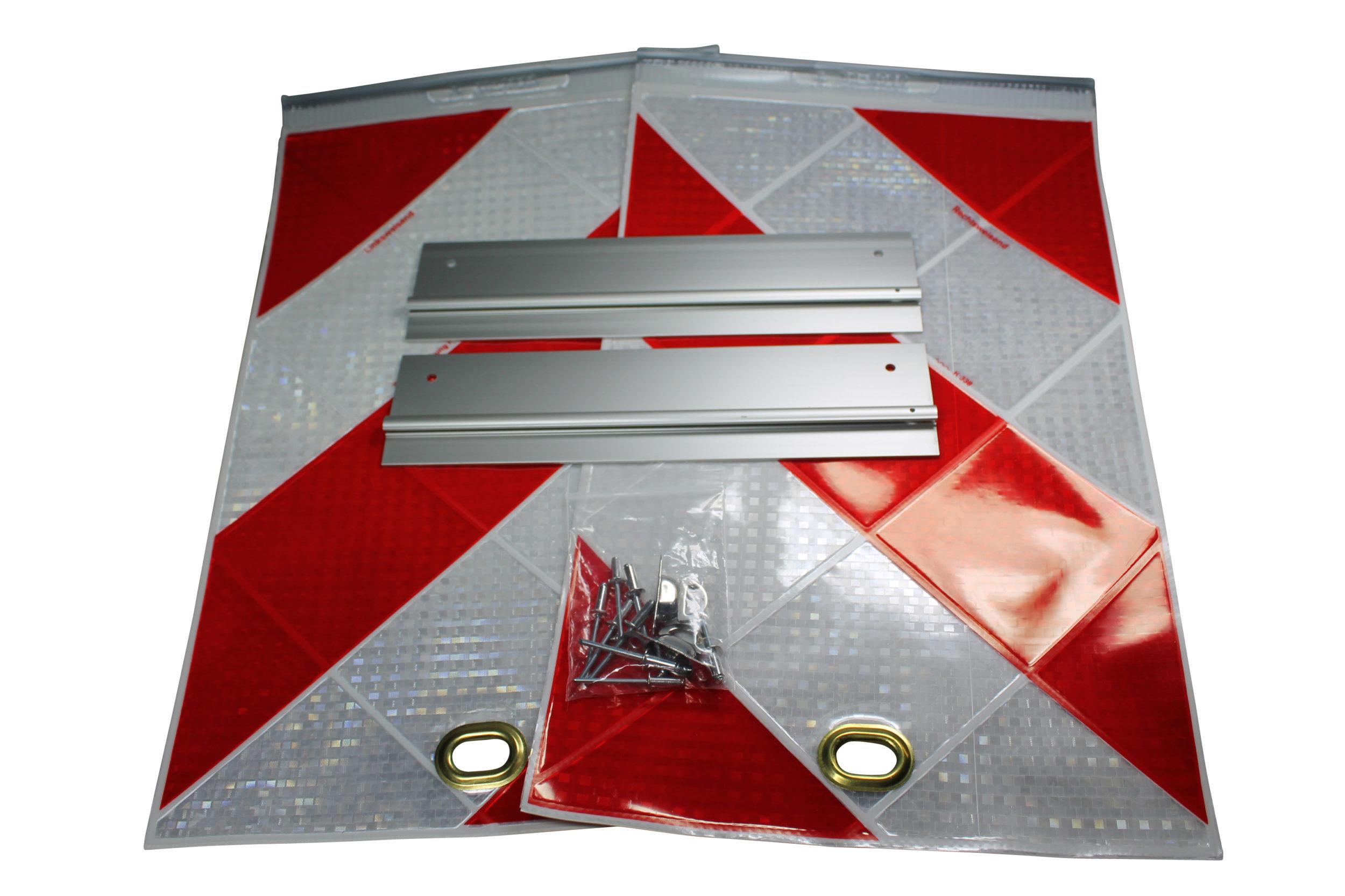 Warnflaggensatz mit Alu-Halter für MBB-Palfinger Ladebordwand Hebebühne